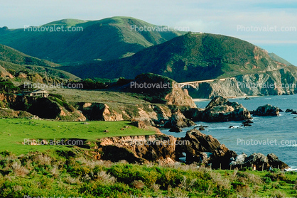 Bridge, fields, hills, mountains, Pacific Ocean, rocks, rugged coast, coastline
