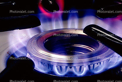 Stove burner burning natural gas