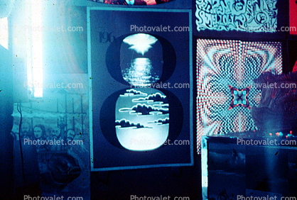 Posters Glowing from a Black Light, Boys bedroom, 1960's, San Diego, California, Black Light, Loma Portal, My Room, psyscape
