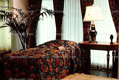 Bed, Sheet, Curtains, Lamp, Palm Tree, Night Table