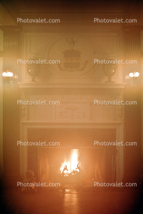 Family Crest, Fire in the Fireplace, ceiling, lights, East Burke, Vermont, 1978, 1970's