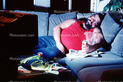 man, male, watching tv, sleeping, Masculine, Person, Adult, couch potato, San Francisco, California