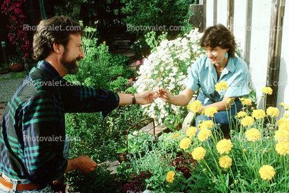 Couple working in the garden, Woman, Man