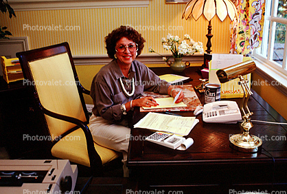 Woman, Desk, Lamp, Paper Calculator, female, telephone