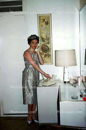 Dial Phone, Dress, Lamp, 1960's housewife, lampshade