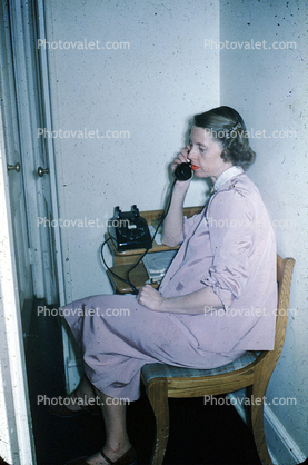 Woman, Dial Phone, Chatting, Talking, Sitting, Chair, 1940's
