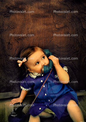 Girl, Dial Phone, Playing, 1950's