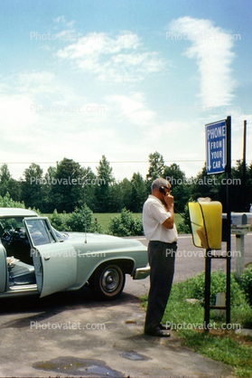 Phone From Your Car, roadside phone booth, Dodge, car, Fredericksburg, June 1963, 1960's