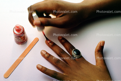 make-up, painting finger nails, female, girl, ring, Manicure, brush, bottle, hand, fingers, Hands, Painting Fingernails, nail polish, woman, nailpolish, woman primping