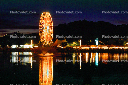 lake, water reflection, night, nighttime, Ferris Wheel, Marin County Fair, California