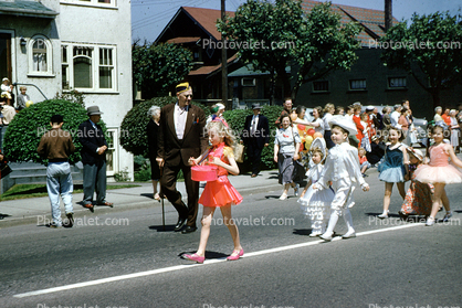 Marching, Girls, Boys, Tutu, Dress, Man, Cowboy, Shriner, 1950's