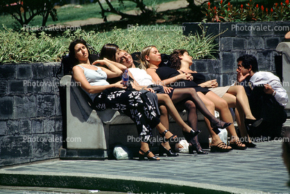 Women on a Bench, Relaxing, Legs, Summer, Sunny, Buenos Aires