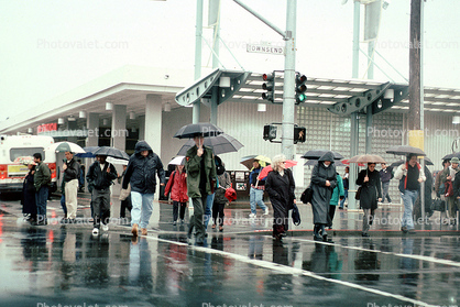 Fourth Street Caltrain Station, umbrellas, crowds, crosswalk, rain, rainy