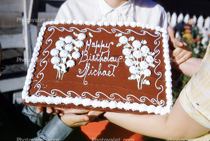 Chocolate Cake Flowers Happy Birthday Michael Flowery Waves Frosting Floral