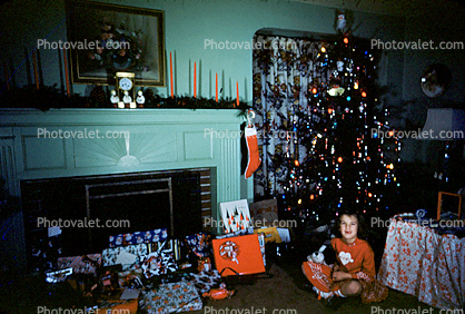 Tree, presents, girl, stocking, fireplace, candles, 1950's