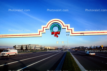 Hacienda Business Park Arch, Wreath, Cars, Street, 1980's