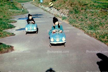 Studebaker Champion, Pedal Car, Cold, Hats, Coat, path, October 1969, 1960's