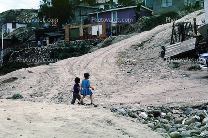Kids Walking, Dirt Road, Colonia Flores Magone, unpaved
