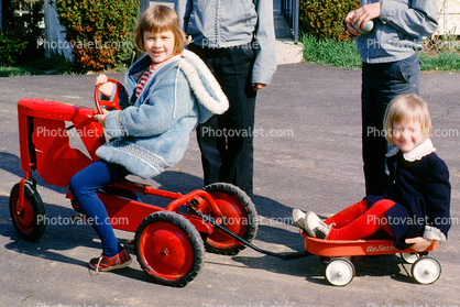 Tractor, Girls, Hyspeed Wagon, Cold, Jackets, Stockings, Smiles, Hats, Coat, path, Pedal Car, April 1964, 1960's