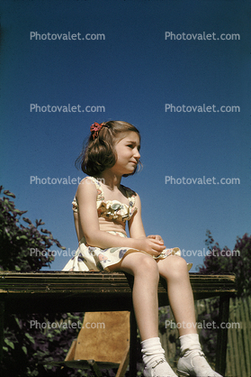 Girl Sitting, contmplating, July 1948, 1940's