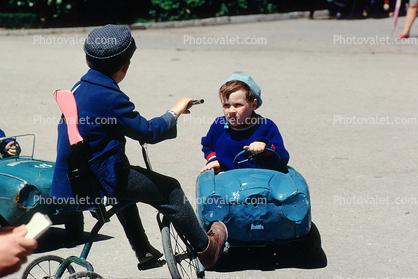 Tricycle and toy car, Pedal Car, Boys, 1950's