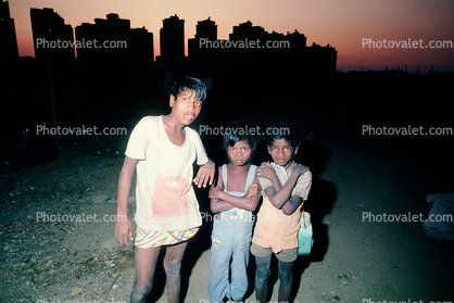 Boys, evening, skyline, Mumbai, India