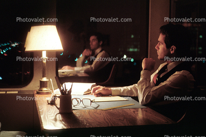 Staying late at the Office, desk, lamp, evening, businessman, 1980's