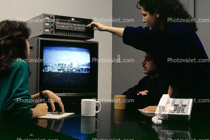 Table, Conference Room, Telephone, landline, table, vcr, TV Monitor, television, 1986