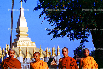 Monks, Sacred Place, Stupa, Buddhist Shrine, temple, building, Vientian, Laos