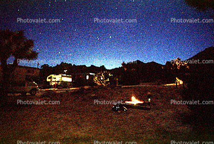 Campfire under the Stars, Joshua Tree National Monument, Twilight, Dusk, Dawn