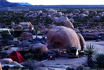 Boulders, Campsite, Camping, Tent, Car, Joshua Tree National Monument