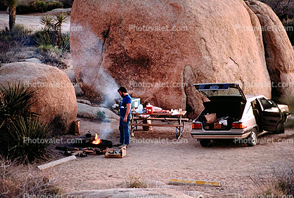Campfire, Smoke, Boulders, Campsite, Camping, Tent, Car, Joshua Tree National Monument