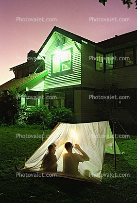Shadow Tent, backyard camping, night, nighttime