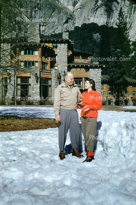 Awahnee Lodge, Hotel, Winter, Couple, Man, Woman, 1950's