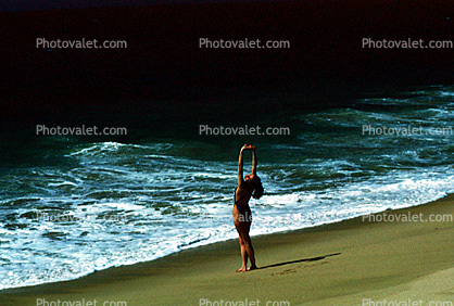 Woman on a Beach, Pacific Ocean, sand, water