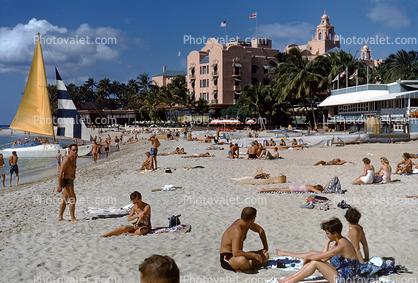 Waikiki Beach Sun Tanning Buildings Honolulu 1950 S