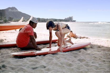 Teen Girl Surf Lessons, Waikiki Beach, Diamond Head, Hawaii