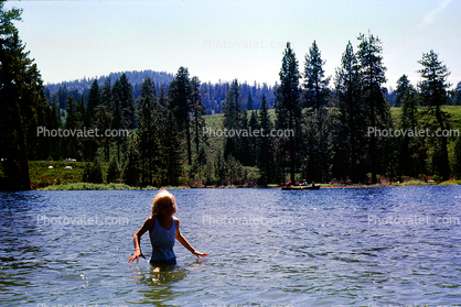 Girl, Lake, Trees