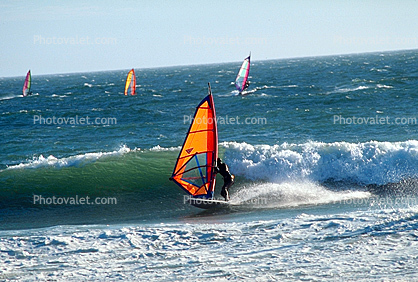 Windsurfer, water, waves