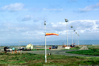 windsock, light poles, sky, (SFO)
