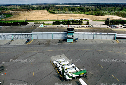 fuel, gasoline truck fueling, refueling equipment, Air traffic control tower, building, Hangar, Control Tower