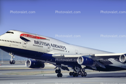 G-CIVO, British Airways BAW, Boeing 747-436, San Francisco International Airport (SFO), 747-400 series, Taking-off