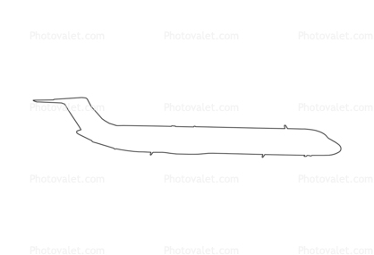 McDonnell Douglas MD-82 outline, line drawing, shape