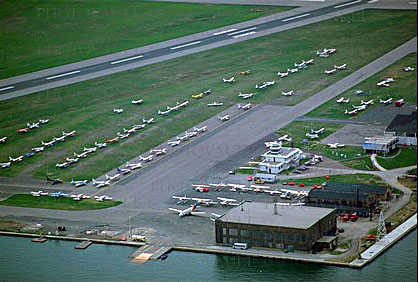 Hangar, buildings, seaplane ramp, control tower, runway