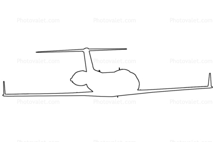 Gulfstream-IV outline, line drawing, shape
