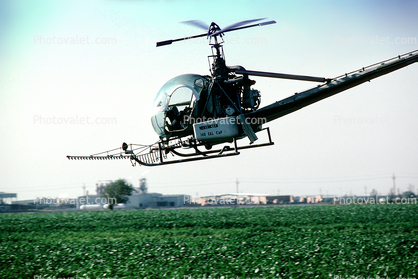 Crop Dusting, Aerial Spraying, Pesticide, Hiller UH-12, Central Valley