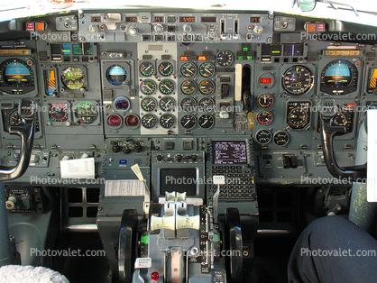 Cockpit, Boeing 737, Steam Gauges Images, Photography, Stock