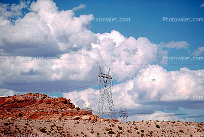 Transmission Towers, Pylons, Cumulus Clouds