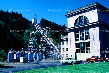 Cars, building, transformer, Hydroelectric, Building