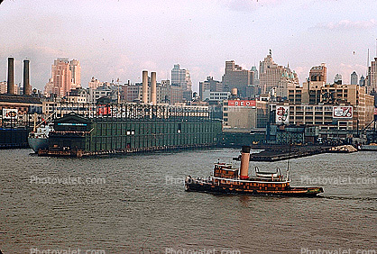 Tugboat, Dock, Harbor, Furness Lines Pier, Canada Dry Billboard, skyline, cityscape, 1950's